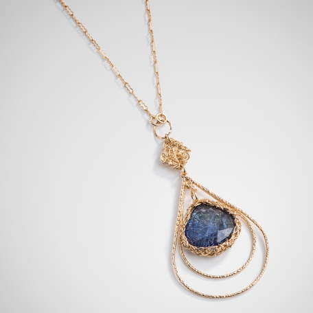 Blue topaz pendant in a classic shape is good for any age. Great gift guaranteed to make anyone happy without second guessing.Comes in colors green,blue,black,gray and pink.